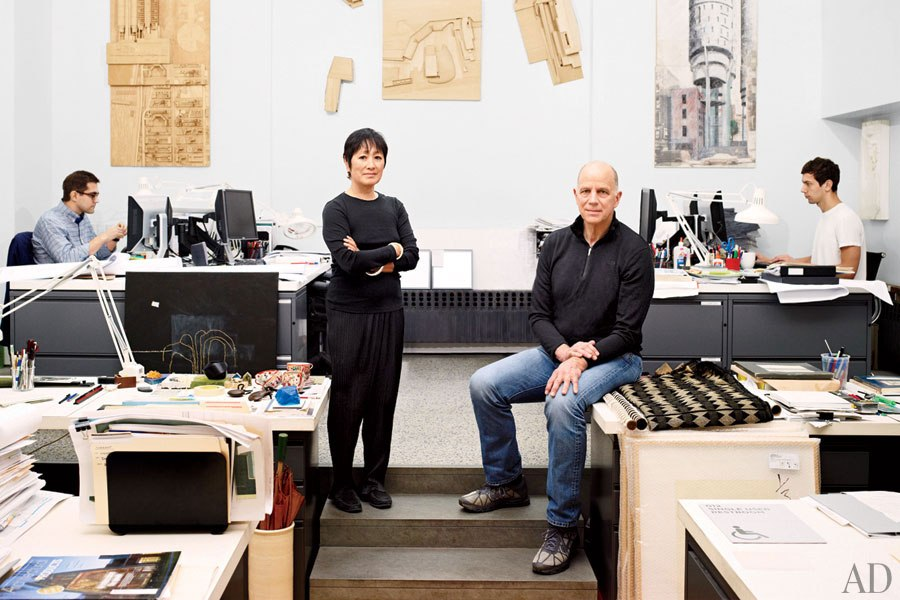 Billy Tsein (left) and Tod Williams (right) in their architecture studio