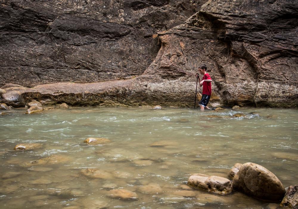 My son navigating the Narrows