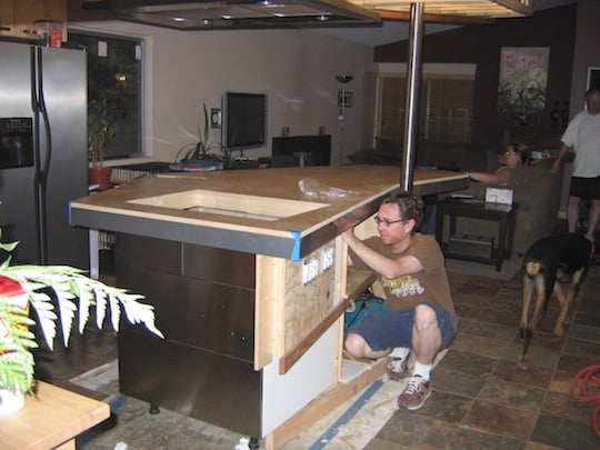 Evan, working on his kitchen remodel.