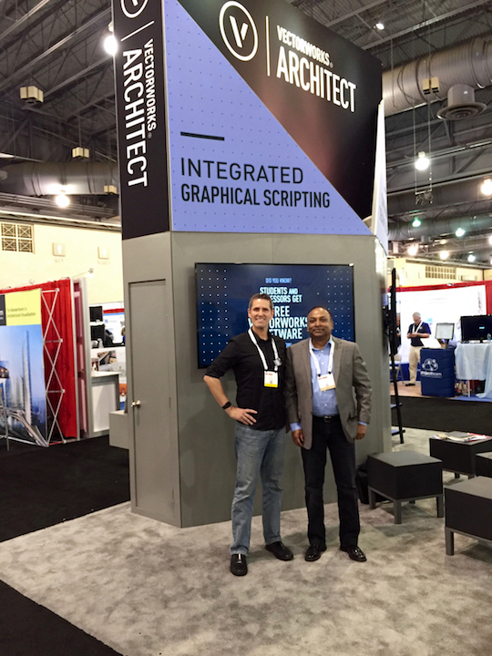 Neal posing with Vectorworks CEO Biplab Sarkar at #AIACon16