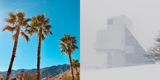Contrasting landscapes at the same time on each US coast: Palm Springs and the Rock and Roll Hall of Fame - Photos by Evan Troxel and Cormac Phalen respectively