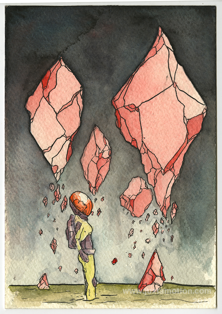 "Crystal Discovery - 2013  4x6""  Ink and Watercolor on coldpress block"