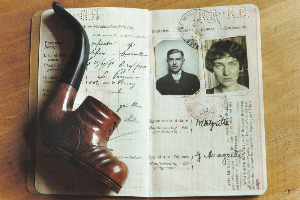 Image of pipe and passport of Rene Magritte