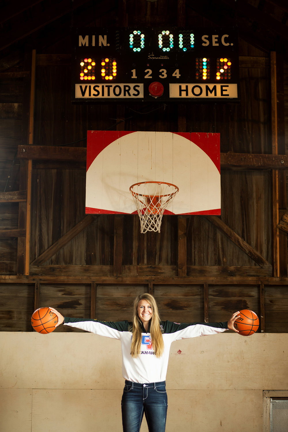 Senior Girl Basketball Pictures by Katie Swatek Photography | Basketball Court in a Barn by Katie Swatek Photography