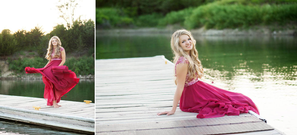 Prom Dress on a Dock Senior Photos by Katie Swatek Photography | Prom Dress in the Water by Katie Swatek Photography