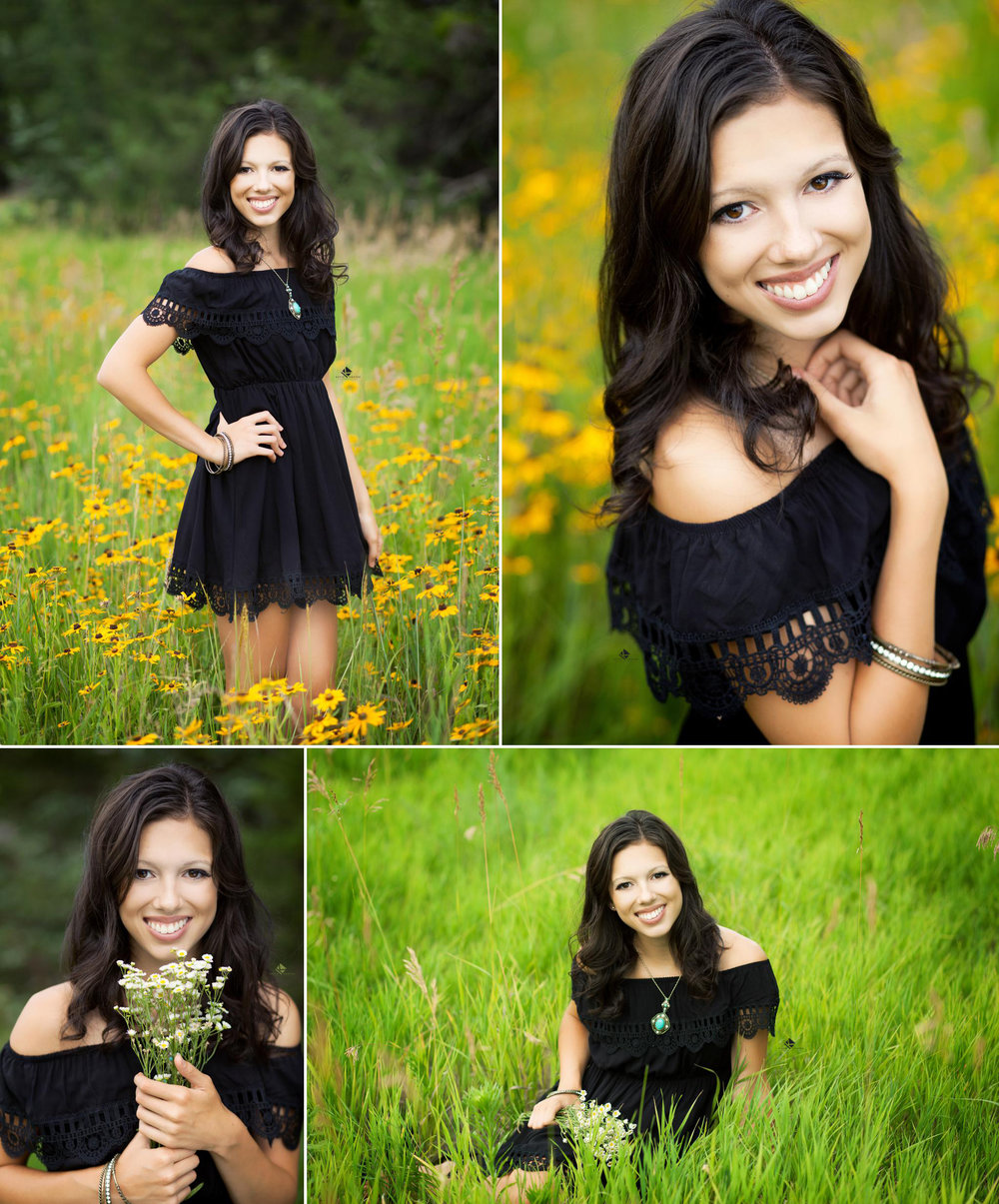 Black Dress Senior by Katie Swatek Photography | Flower Field Senior by Katie Swatek Photography