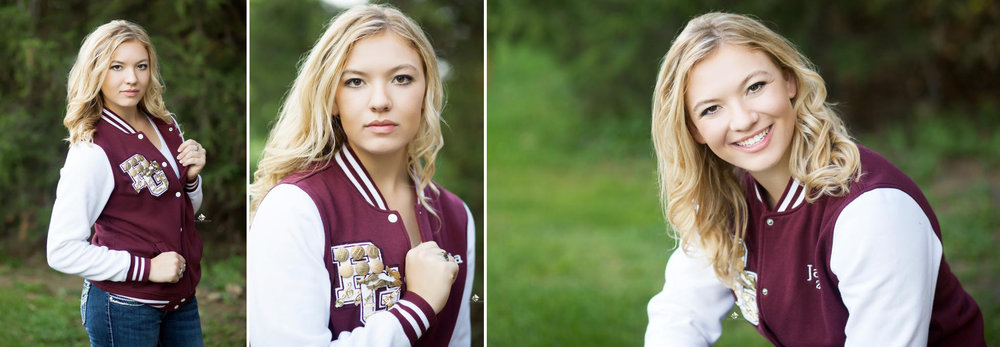 Letterman Jacket Senior Pictures by Katie Swatek Photography | South Dakota Senior Pictures by Katie Swatek Photography