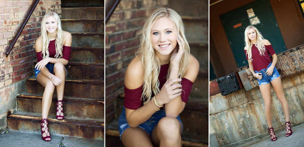 blonde senior girl in a wine colored, off the shoulder top and denim shots in an urban, rusted location