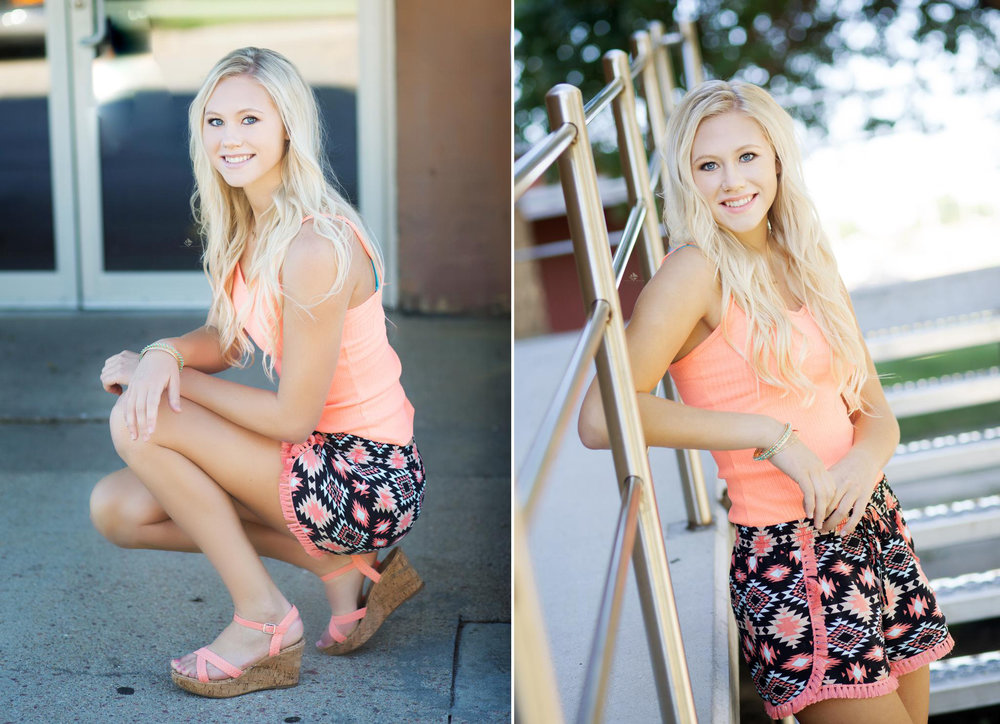 blonde senior girl in tribal shorts next to a set of silver stairs