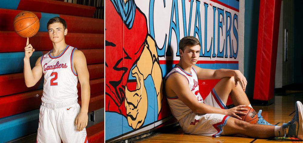 blonde senior boy posing in a basketball jersey in a high school gymnasium