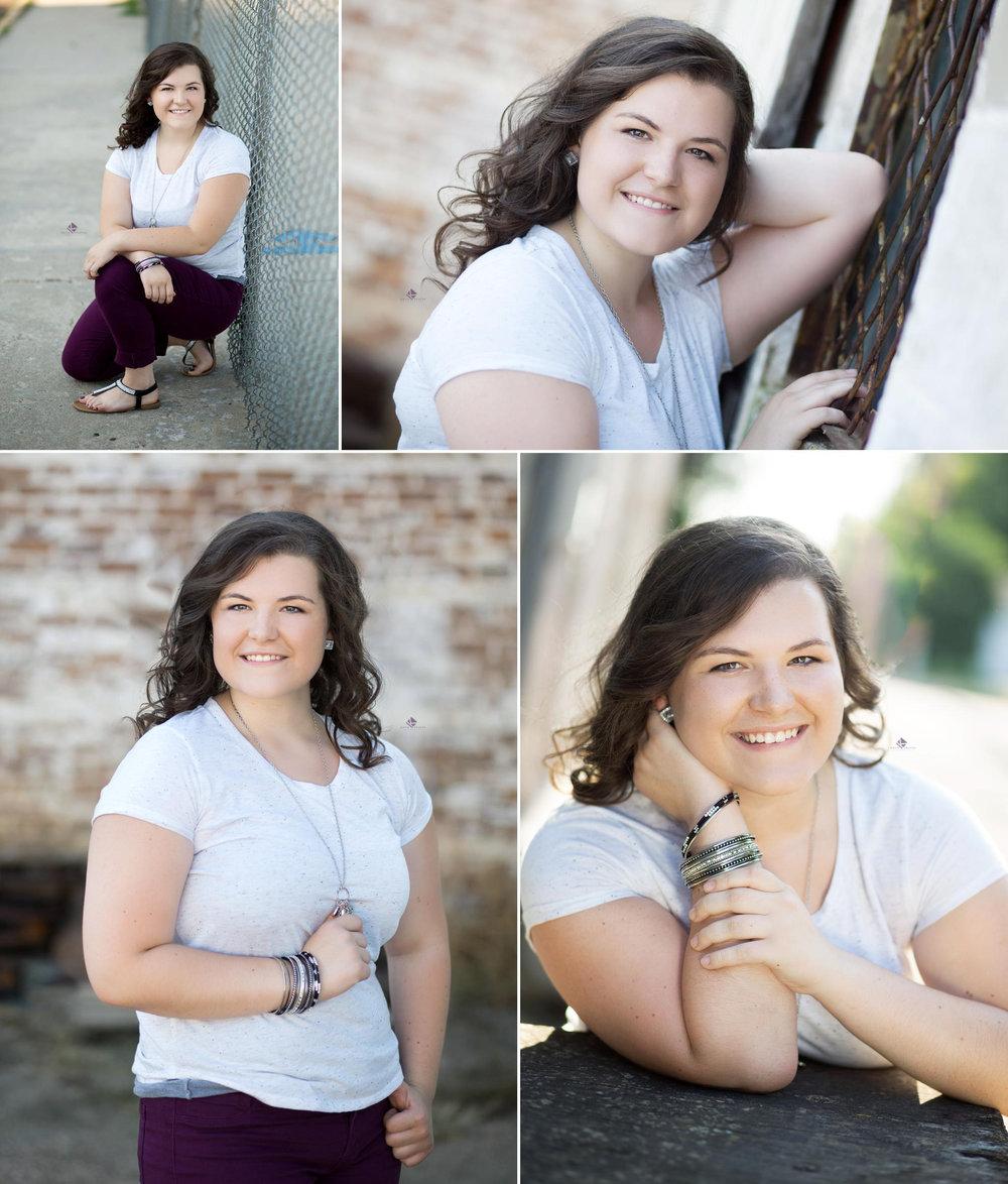 a brunette senior girl in a white t shirt in various urban settings