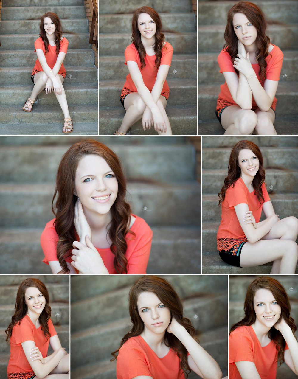 Red headed senior girl in a coral top sitting on cement stairs