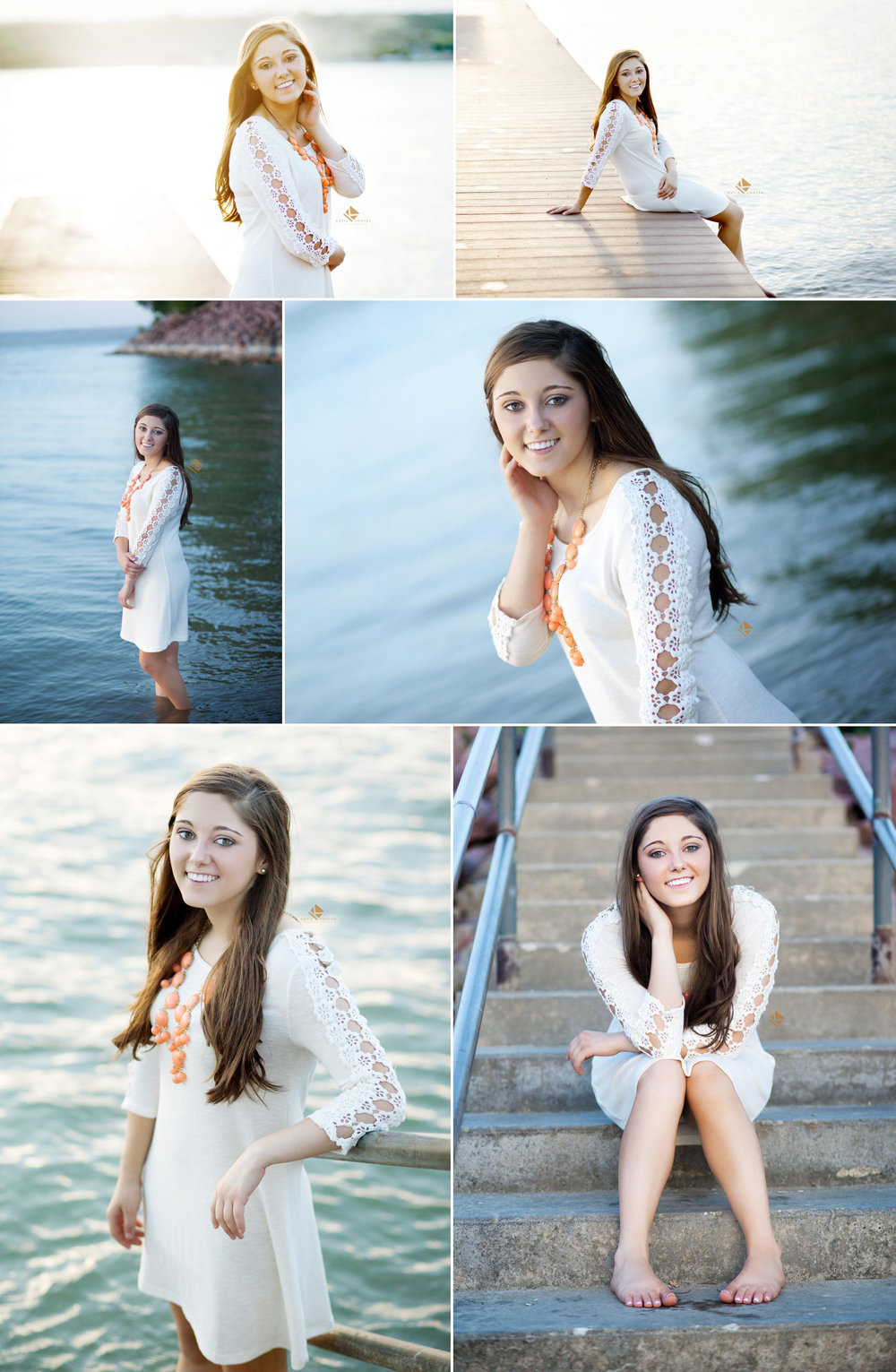 brunette senior girl in a white lace dress and orange necklace standing next to a dock sitting on a dock and standing in the water