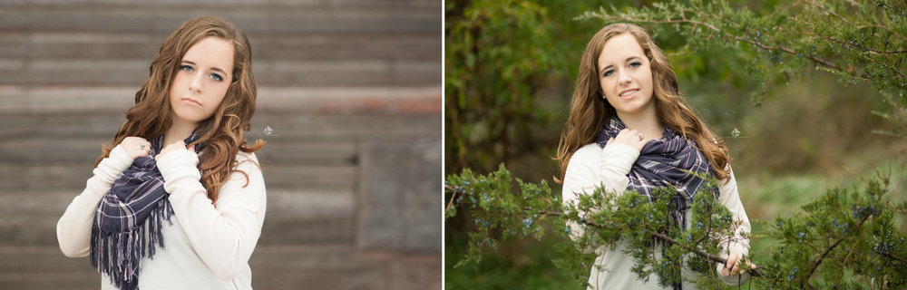 brunette senior girl in a white sweater and a navy plaid scarf posing next to a barn and near an evergreen