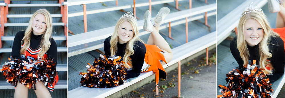 blonde senior girl in a cheerleading uniform wearing a homecoming queen crown while sitting on bleacher stairs
