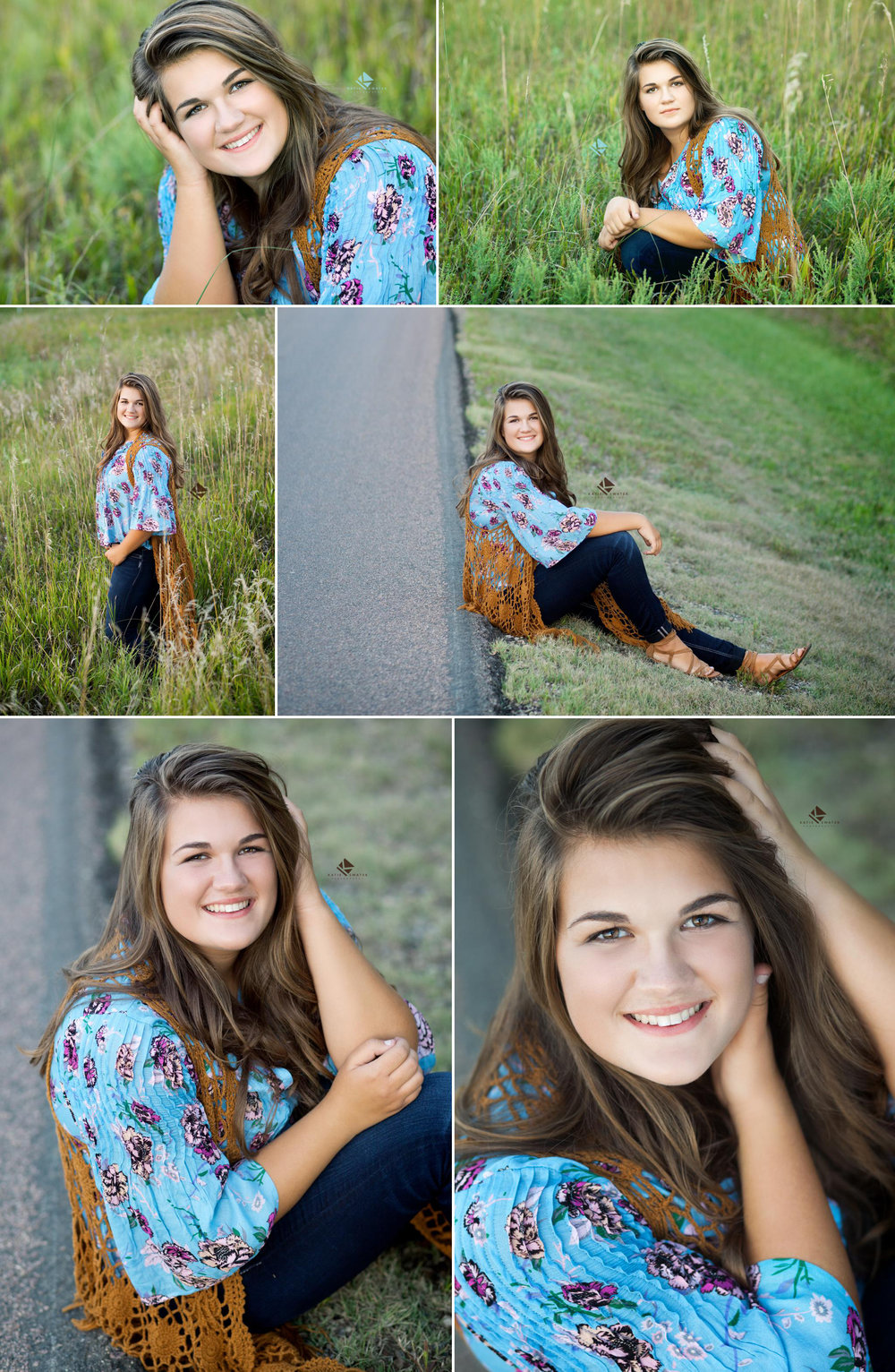 brunette senior girl in a blue floral top and jeans sitting on the side of the road and in a field for senior pictures