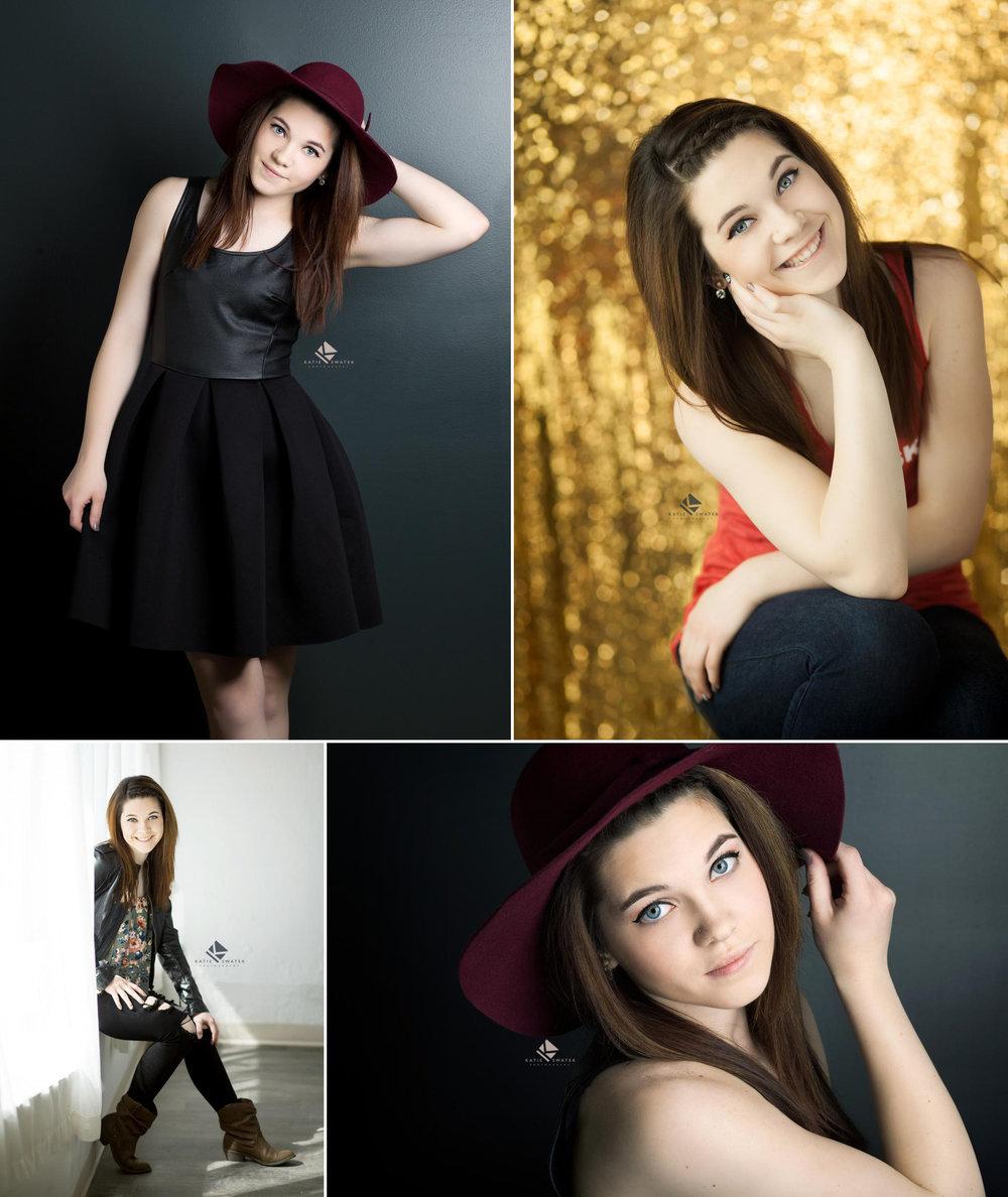 brunette senior girl posing for various shots in the Katie Swatek Photography studio in Wagner South Dakota