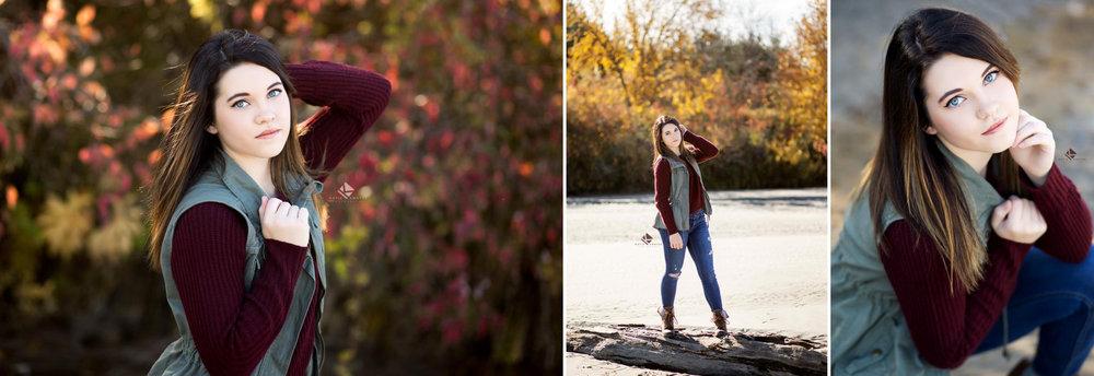 brunette senior girl in an olive vest posing with fall foliage along a Nebraska sandbar