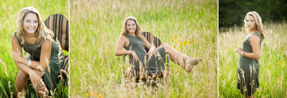 blonde senior girl in an olive cotton dress standing in a field of tall grass and sitting in a striped chair in the same tall grass field