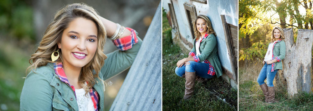 blonde senior girl in a plaid shirt with an olive over jacket standing next to a tin building in wagner south dakota for her senior portraits