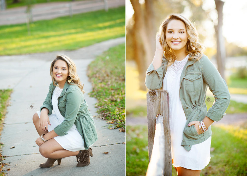 blonde senior girl in a white dress with an olive jacket posing for senior pictures at the Wagner Lake in Wagner South Dakota