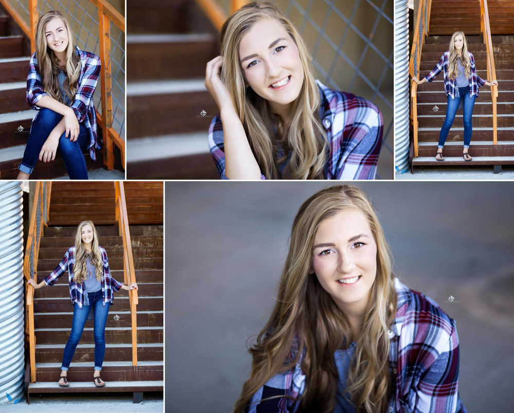 Blonde senior girl in a purple and navy flannel shirt posing on an orange and rust colored staircase and in a parking garage for senior pictures