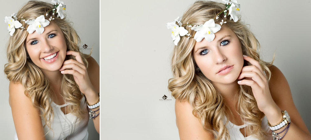 blonde senior girl in a white top and a white floral crown photographed in the studio with an ivory backdrop