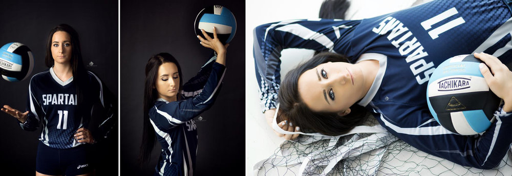 brunette senior girl in a West Boyd High School volleyball jersey posing in the studio with a volleyball and a net
