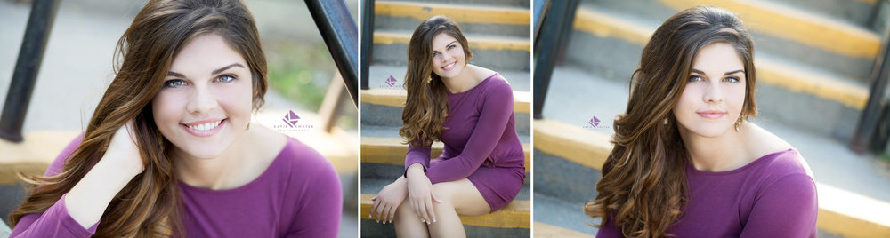 brunette senior girl in a purple dress sitting on a set of yellow and cement stairs in Lake Andes, SD