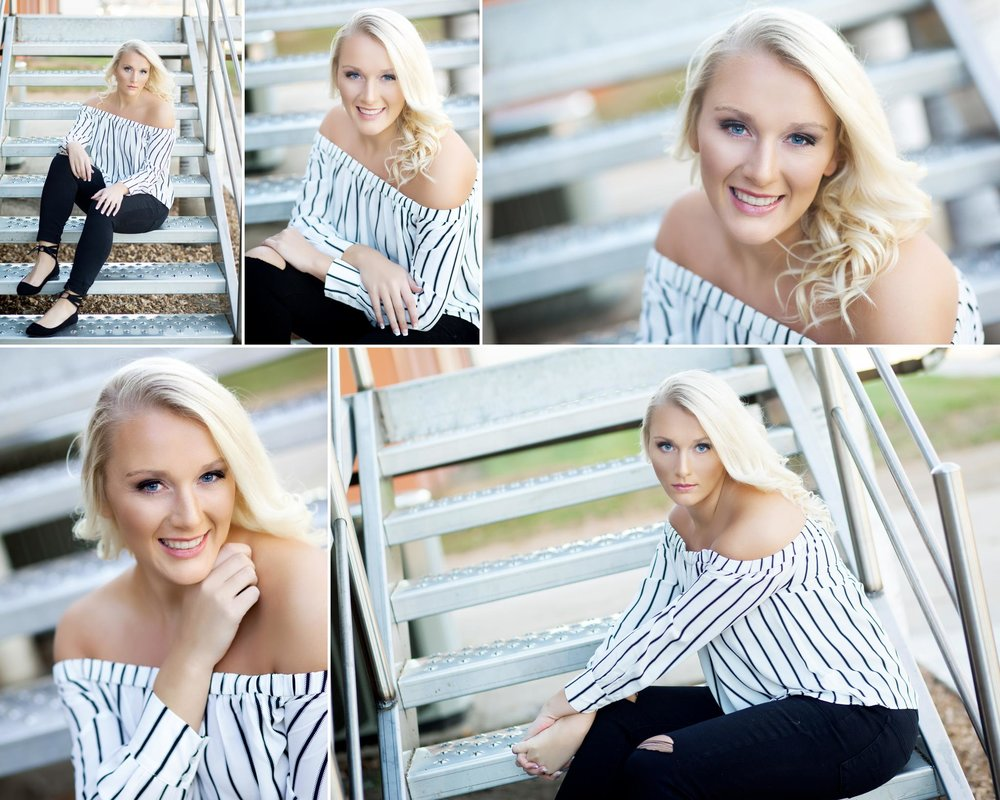 blonde senior girl in a black and white striped top and black pants sitting on a silver staircase in Wagner Sd