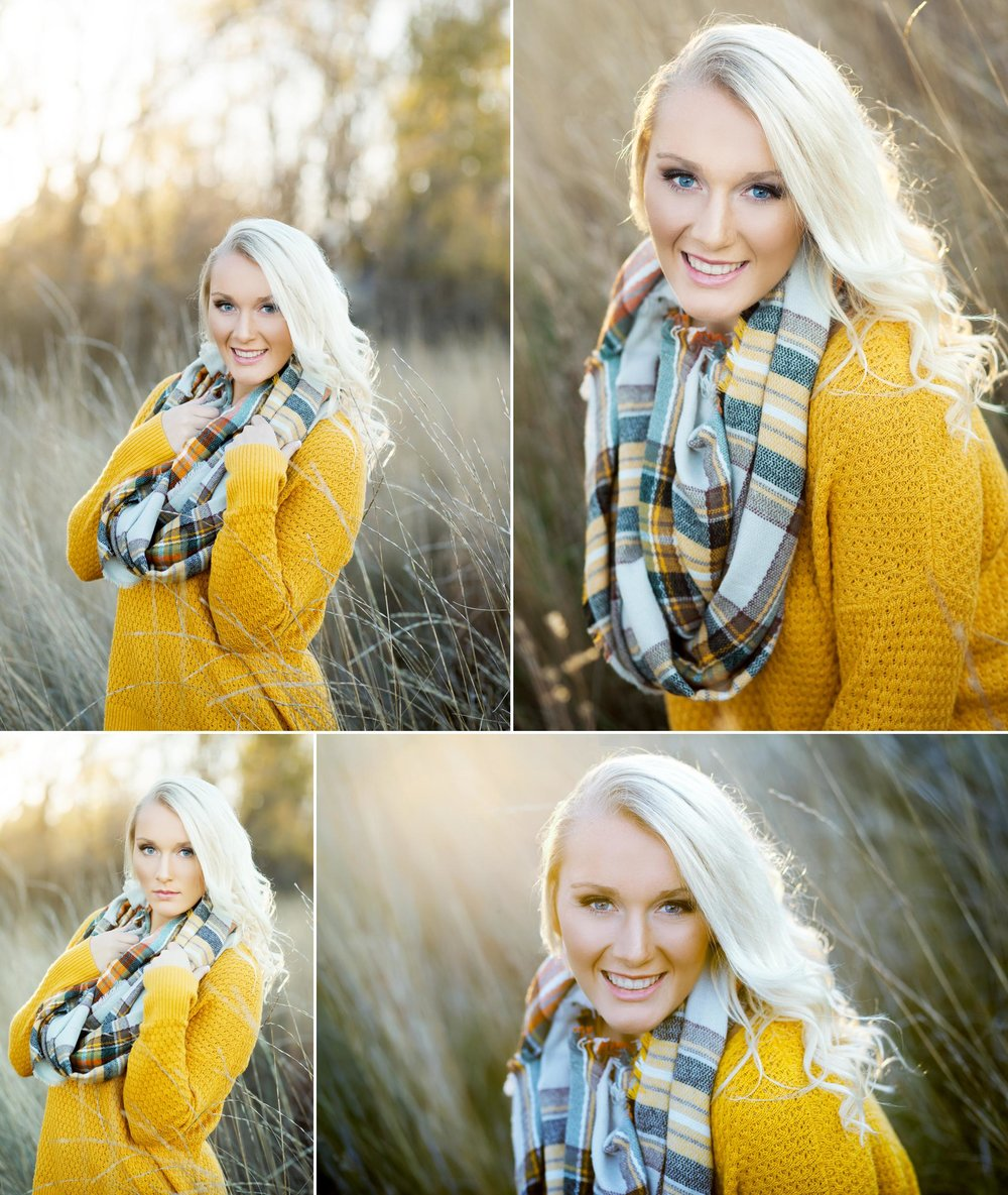 blonde senior girl in a mustard colored sweater and a plaid scarf standing in the middle of a white field in the fall