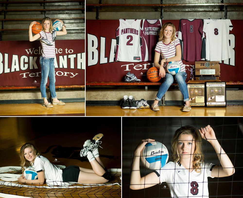 blonde senior girl in a black and white striped top shooting sports images in the Platte Geddes high school gymnasium