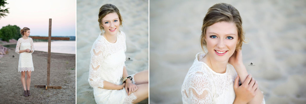 blonde senior girl in a white lace dress on a sandy beach at sunset