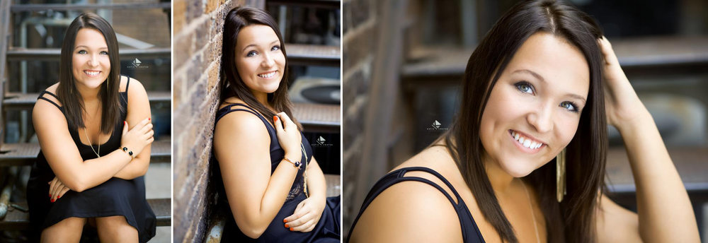 brunette senior girl in a black dress on a metal staircase in an alley in Mitchell SD