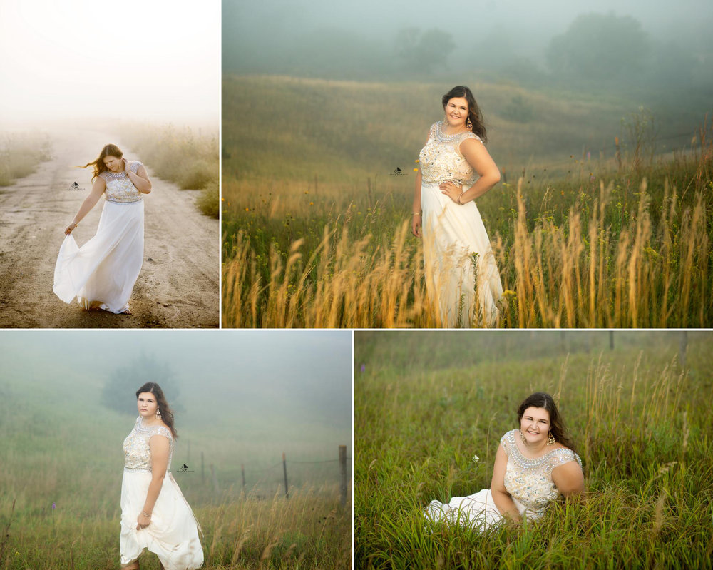 brunette senior girl in a white prom dress standing in a foggy field