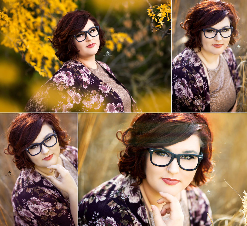 brunette senior girl in glasses with a blush sequined top and a floral purple kimono standing in fall foliage and a white and bronze field