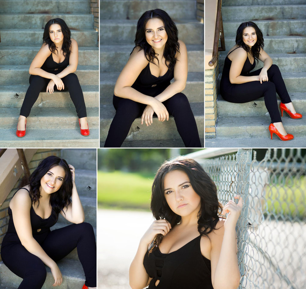 brunette senior girl in a black jumper and red high heels sitting on cement stairs