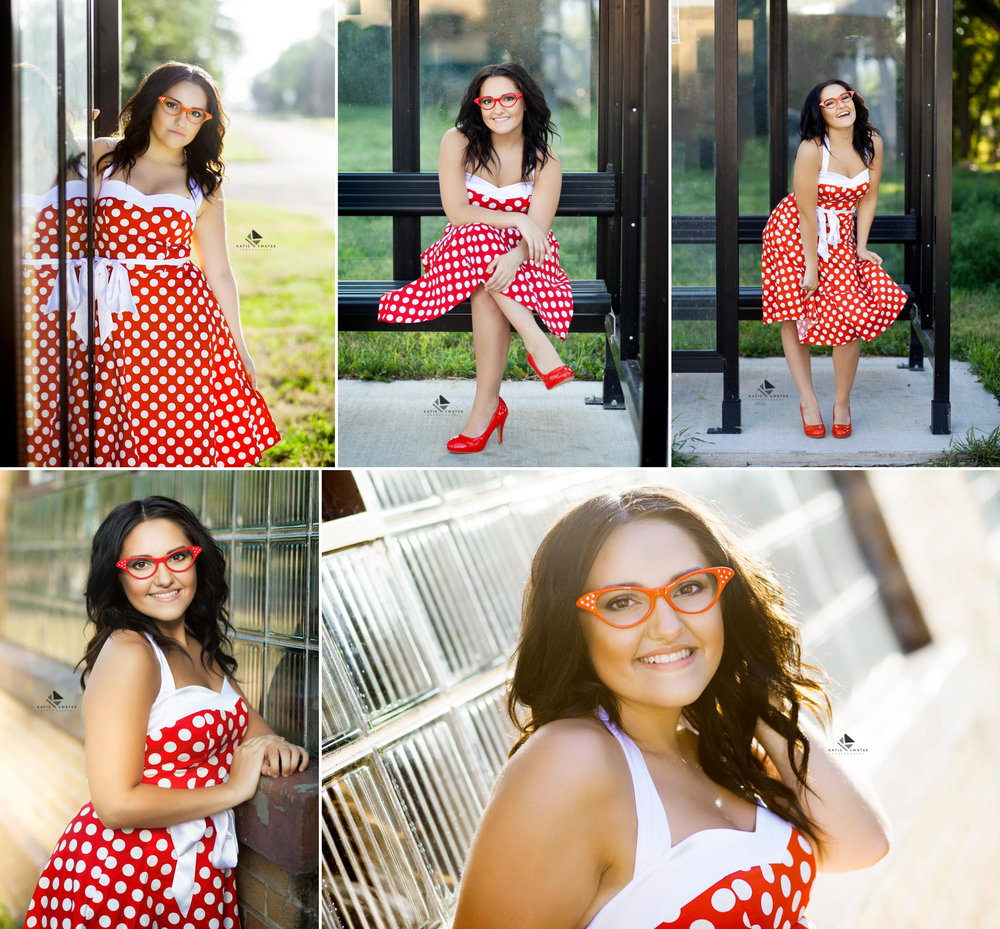 brunette senior girl in a red and white polka dot dress with red glasses doing a vintage spin on senior pictures