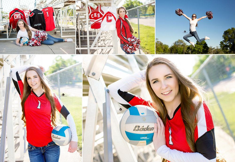 brunette senior girl with long hair posing with her volleyball and cheer uniforms