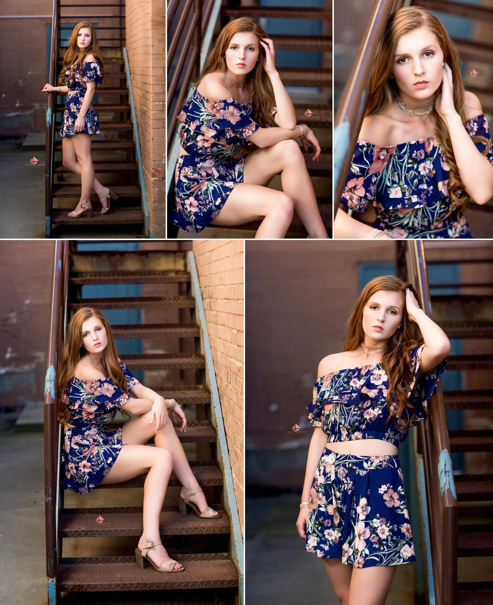 red headed senior in a navy blue and pink floral two piece romper sitting and standing on a set of old, rusted stairs