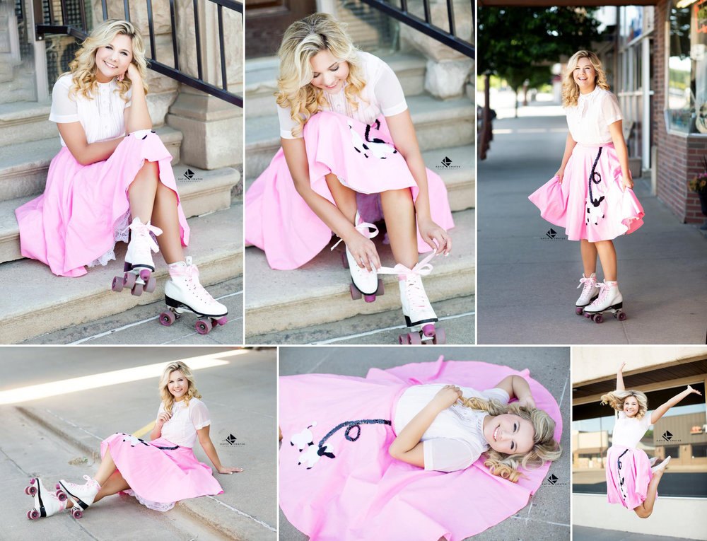 blonde girl in a white top and pink poodle skirt posing for senior pictures in roller skates