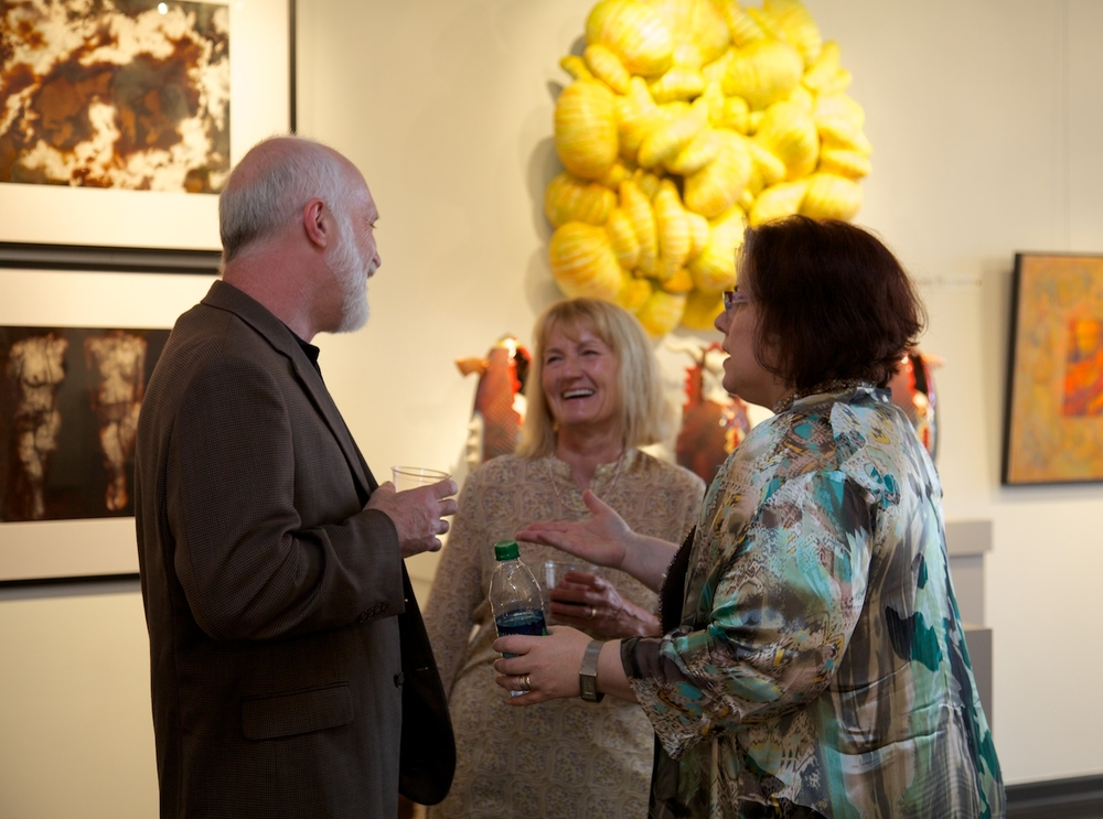 Artist, Leonid Siveriver, Victoria Schomer of ASID and Green Built Environments, and artist, Amy Medford