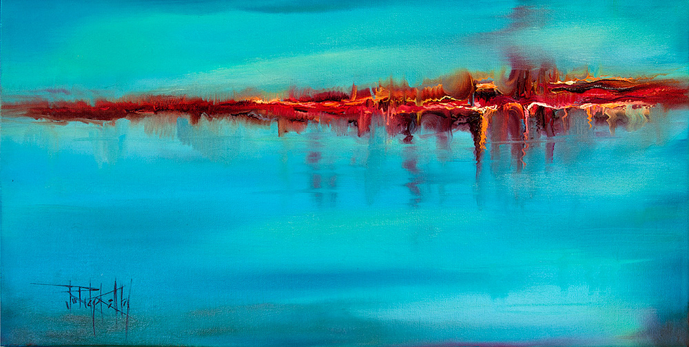 "Turquoise Series,  Imagine II,  11"" x 22"", oil on canvas"