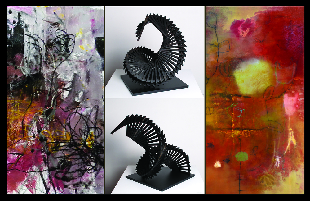 left detail, Holomodor by Pat Zalisko, Untitled Spiral by Robert Winkler, right detail, What's in Front of You by Barbara Fisher,