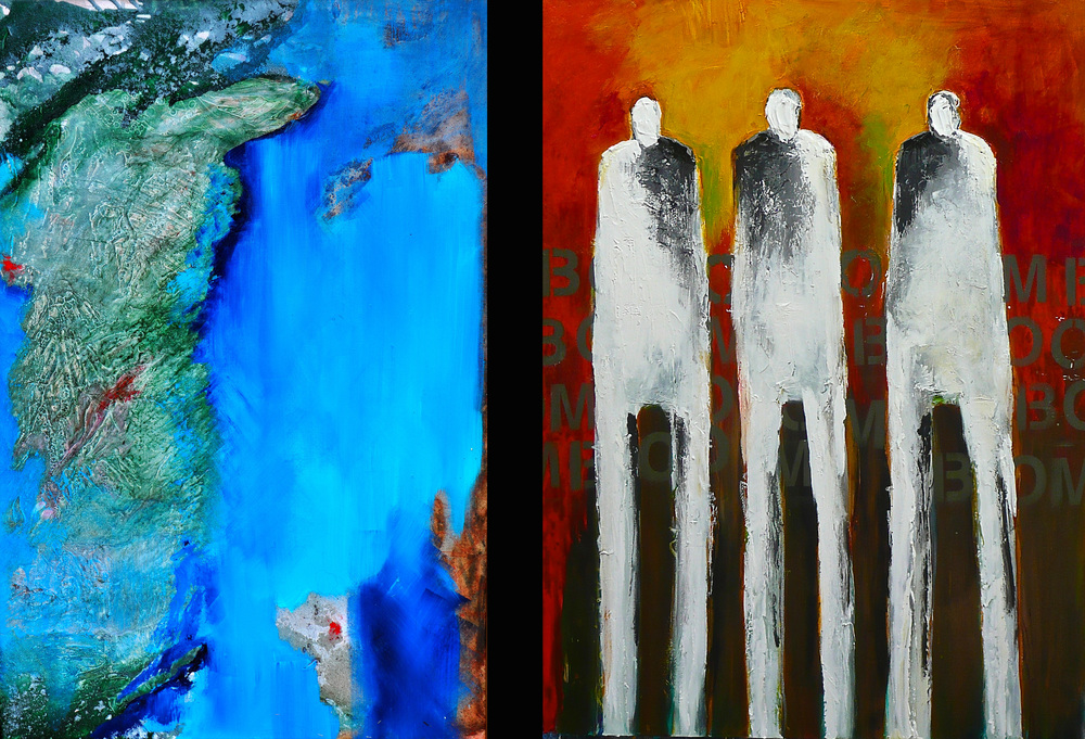 L: Sea and Soil by Faye Earnest, Mixed media on Canvas, 48 x 36 R: Be the Boom by Jeanne Bessette, Acrylic on Canvas, 48 x 36