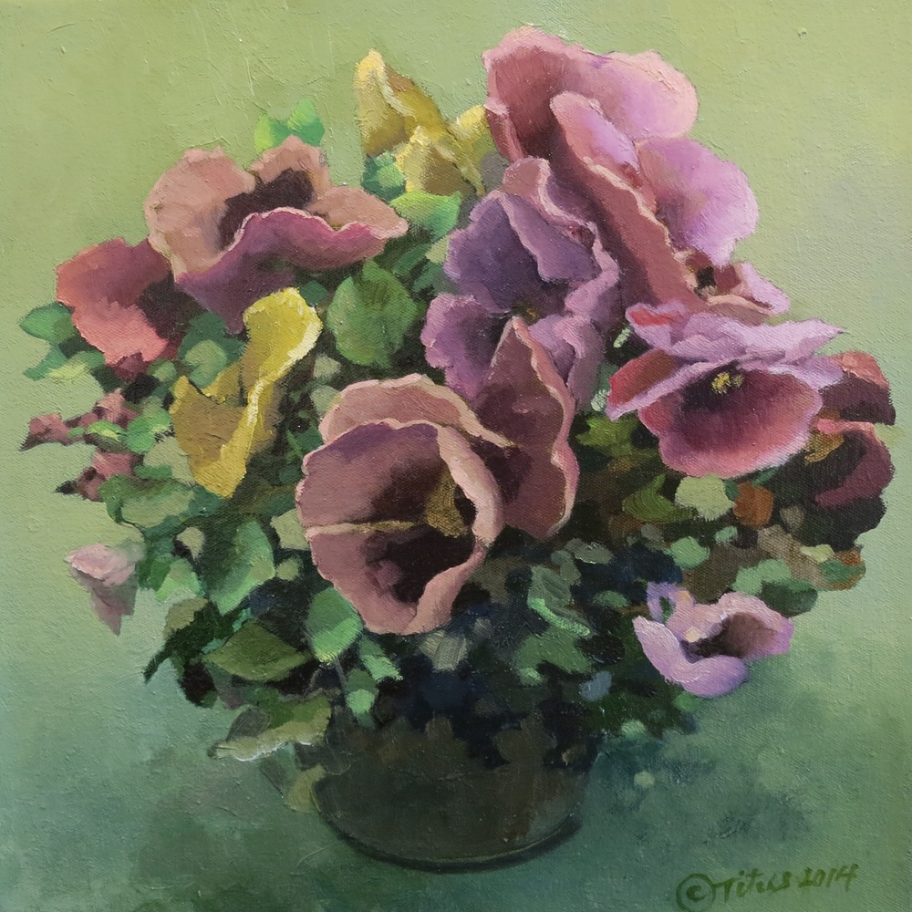 "Pansies by Karen Titus Smith, Oil on canvas, 12""h x 12""w $1,020"