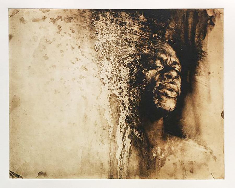 "Gospel Singer  3  by Suzy Schultz , Solar plate etching,8.5""h x 10.25""w Framed to 16.5""h x 18.5""w $350"