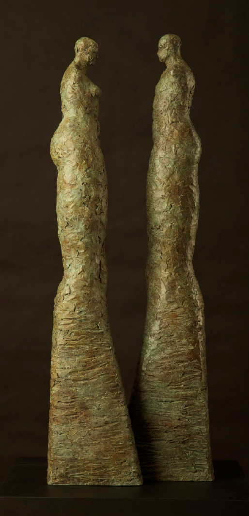"Dialogue by Amy Medford, Bronze, 24""h x 10"" x 11"", $11,800"