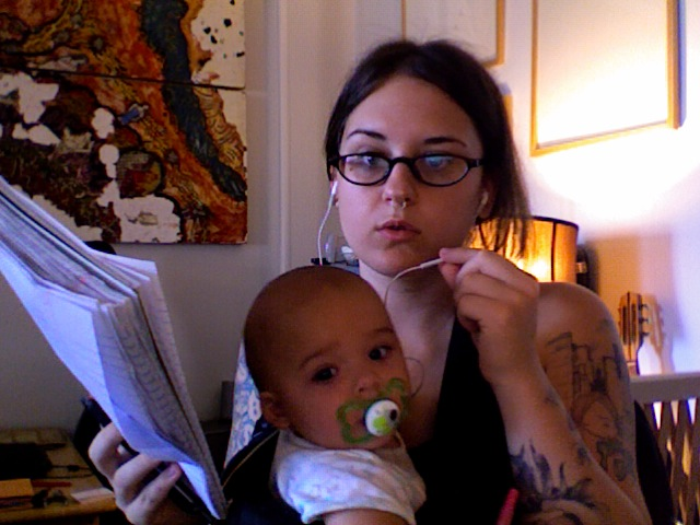 Why yes, it's my nannies day off. AND a clients CD release is today, merch crisis avoided, teething baby calmed in the bjorn, 3 Skype conference calls, and two bottles downed since six, ALL  before my first cup off coffee (see the hair!?). Baby G this is the life of a working mother.     Tonight is the first time baby G will be left with someone to watch her that's not her nanny while Mark and I are at the CD release celebration, I'm more worried for the sitter then baby G since G is teething and has recently taken to screaming (a lot). Is it the weekend yet?