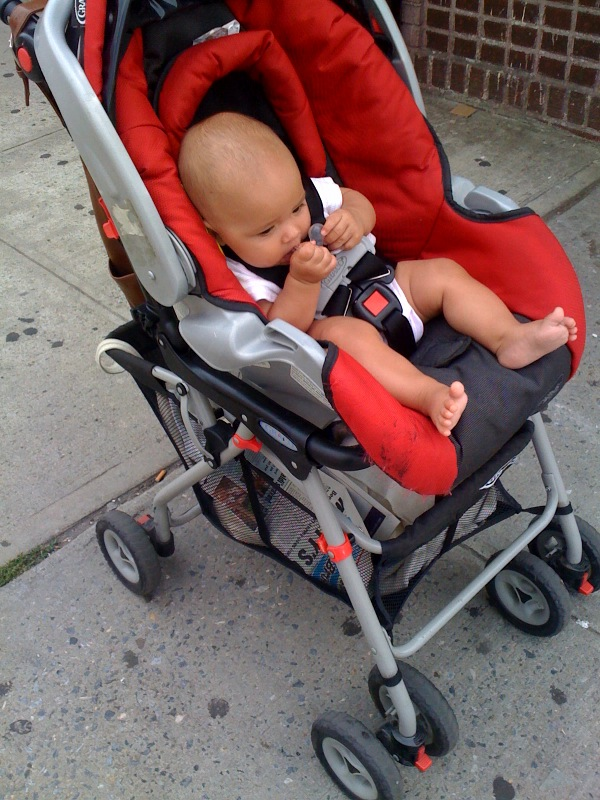 """This baby girl is the ONLY way you will currently sit in your stroller with out tossing a fit. Only problem is this is not how the stroller is made to face. It is so unsafe in every way. The """"car seat"""" should actually be flipped around the other way (and snapped in) to face the person who is pushing you while you lean back. But, no, you have decided you would rather face out and see the world around you even if it means oh so unsafely cruising around with the seat resting in the basket below to make this possible. Hey, I don't blame you it's an exciting world. I think it's time to invest in the oh so not cheap City Series I've had my eye on for sometime now that you've decided you're too big of a girl for your infant seat. When did my little lump of a newborn turn into a """"real"""" opinionated human?"""